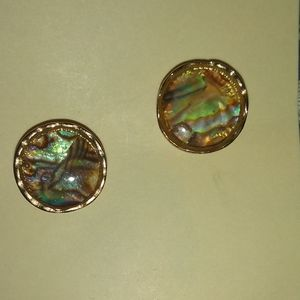 Gold multi colored stud earrings
